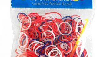 Loom bandjes rood wit blauw 300 stuks