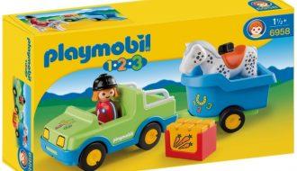 Playmobil 1.2.3 Auto met paardentrailer - 6958