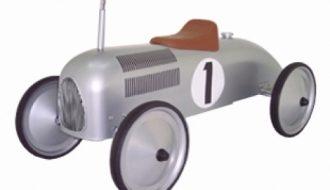 Zilveren racer loopauto