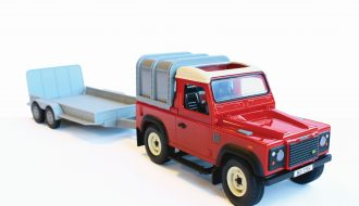 Land Rover met Trailer en balen Big Farm Britains