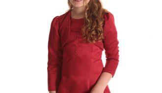 Bolero meisjes rood met pailletjes- 68