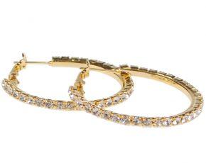 Dames oorbellen goudkleurig met strass steentjes-