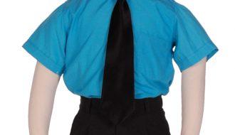 Kinderoverhemd korte mouw turquoise- 98