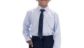 Kinderoverhemd lange mouw lichtblauw- 92