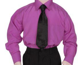 Kinderoverhemd lange mouw paars- 86